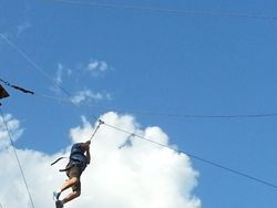 Michael takes off on zip line