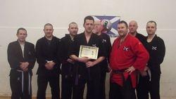 Presentation to Darren Kelman at Kempo Senior Kyu Gradings - Inverness March 2012