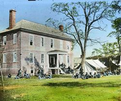 Troops resting at a plantation in Virginia