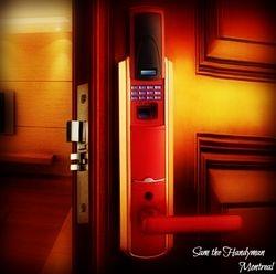 Hotel room door lock installation