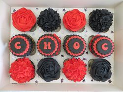 Red and Black Birthday Cupcakes