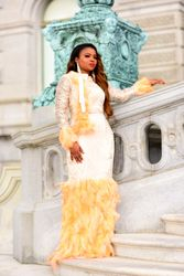 My Heart's Desire Feather Accented Gown
