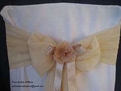 Nude voile with flower and ribbon.