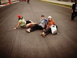 Taking a rest on the circuit by the Start Finish Line