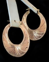 Etched Cuban Hoops 14k