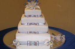 Silver/Royal Blue Calla Lily Cake