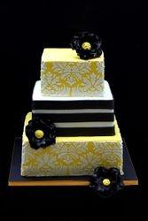 Damask square wedding cake