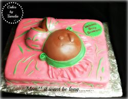 Pink and Green belly Cake