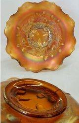 """Acorn 7"""" ruffled bowl, amber"""
