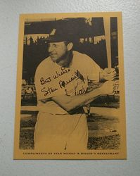 RARE Stan Musial & Biggies Restaurant Card MINT