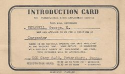 George Kenawell Carpenter Introduction Card