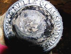 Dyottville Glass Works wine bottle.