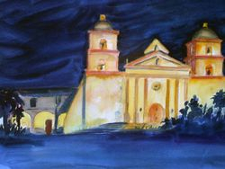 Santa Barbara Mission (at night)