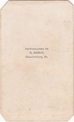 H. Bishop, photographer of Chambersburg, Pennsylvania - back