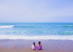 Sisters on Beach