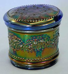 Orange Tree powder jar, blue