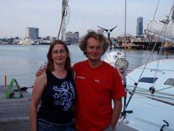 Ann with her sailing hero, Steve White and his boat Toe In The Water