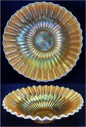 Caroline candy ribbon edge shallow round bowl, peach opal