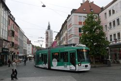 LHB tram #266 turning out of Domstrasse, into Schonbomstrasse