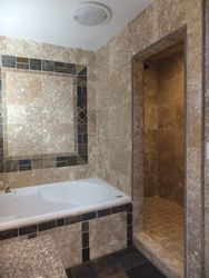 Master Bathroom: Tub Mosaic & Travertine Shower