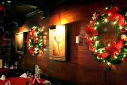 Lighted wreaths - Dining Area