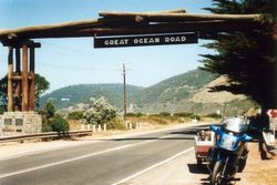 Tom's K75RT & Camper Trailer on The Great Ocean Road on the way to 1996 AGM Hobart - Feb 1996