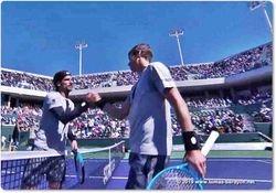 Handshake Feliciano Lopez and Tomas Berdych