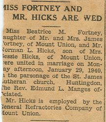 Marriage of Beatrice M. Fortney and Norman L. Hicks 1940