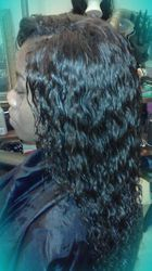 100% human hair water wave crochet closure with Sewin