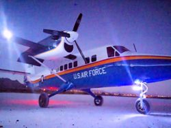 Twin Otter on the night ramp