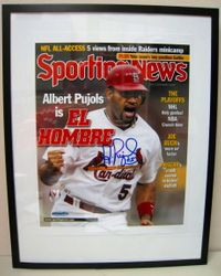 ALBERT PUJOLS SIGNED AND FRAMED SPORTING NEWS COVER UDA  AUTHENTICATED