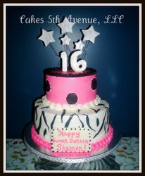 Sweet Sixteen Zebra Stripes Cake