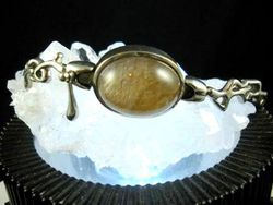 09-00131 Gold Rutilated Quartz Cabochon Sterling Link Bracelet