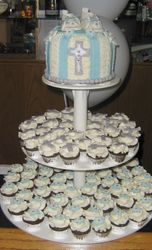 Baptism Cake and Mini Cupcakes
