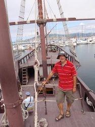 John aboard the replica Pinta