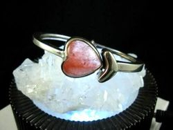 09-00127 Strawberry Quartz Heart Cuff Bracelet