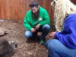 Selfie Safari winners with Dorsie the NA porcupine