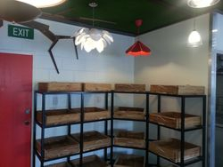 Metal Shelving with Timber Fruit Boxes.