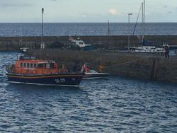 Newcastle RNLIlaunch all weather lifeboat to go the aid of a stranded speedboat