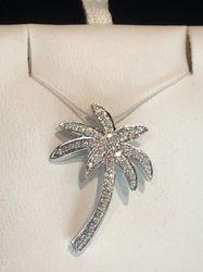 14k diamond palm tree pendant