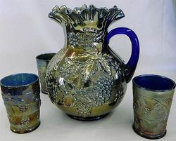 Floral and Grape water set, blue
