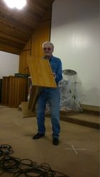 Have pulpit will travel-another one of Bernie's marvelous woodworking creations