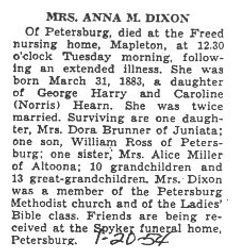 Dixon, Anna M. Hearn 1954