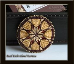 8 Point Star Bead Embroidery Barrette