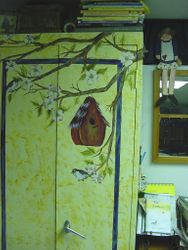 My old painting cabinet in my art studio that holds hundreds of paints