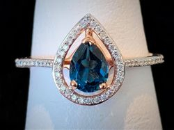 London blue topaz in rose gold with diamonds