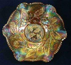 "Millersburg Holly 9"" ruffled bowl - marigold,"