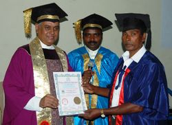 Dr. Madhu Krishan, Chairman Conferring degrees In Convocation At Chennai, Porour along With Director Academics Of AUGP, Rev.Dr. Ruben Solomon.
