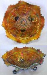 Horse Medallion ftd ruffled bowl, amethyst