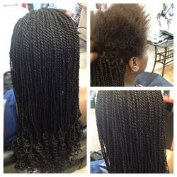 Box braids with natural hair